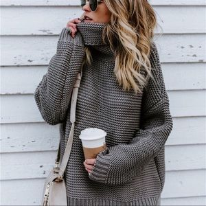 Sweaters - ⛄️ONLY 2 LEFT! Chunky Knit GRAY Turtleneck sweater